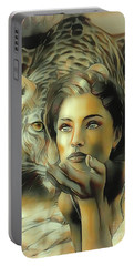 Kiss Of The Leopard Woman Portable Battery Charger
