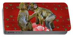 Kissing Chimpanzees Hearts Portable Battery Charger