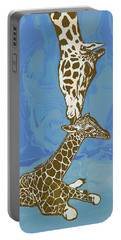 Kissing - Giraffe Stylised Pop Art Poster Portable Battery Charger