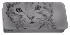 Portable Battery Charger featuring the painting Kitten by Brindha Naveen
