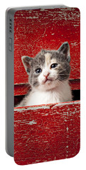 Kitten In Red Drawer Portable Battery Charger