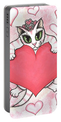 Kitten With Heart Portable Battery Charger by Carrie Hawks