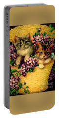 Kittens With Violets Victorian Print Portable Battery Charger