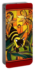Kitty Bee - Cat Art By Dora Hathazi Mendes Portable Battery Charger by Dora Hathazi Mendes