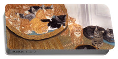 Portable Battery Charger featuring the painting Kitty Litter I by Karen Zuk Rosenblatt