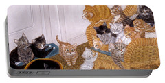 Portable Battery Charger featuring the painting Kitty Litter II by Karen Zuk Rosenblatt