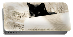 Kitty Stalks In Sepia Portable Battery Charger