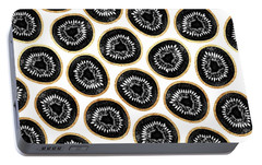 Kiwi Pattern Portable Battery Charger by Elisabeth Fredriksson