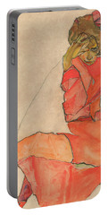 Kneeling Female In Orange-red Dress Portable Battery Charger