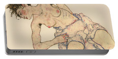 Kneider Weiblicher Halbakt Portable Battery Charger by Egon Schiele