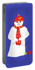 Portable Battery Charger featuring the digital art Knitting Snowman by Barbara Moignard