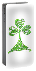 Portable Battery Charger featuring the drawing Knotted Shamrock by Lise Winne