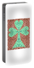 Portable Battery Charger featuring the drawing Knotted Shamrock With Brown Background by Lise Winne
