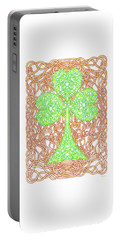 Portable Battery Charger featuring the drawing Knotted Shamrock With Knotted Background by Lise Winne