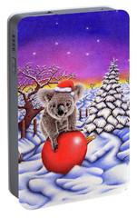 Koala On Christmas Ball Portable Battery Charger by Remrov