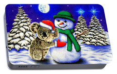Koala With Snowman Portable Battery Charger by Remrov