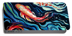 Koi Fish In Ribbons Of Water II Portable Battery Charger
