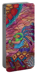 Portable Battery Charger featuring the drawing Kokopelli 4 by Megan Walsh