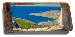 Komiza Bay Aerial View Through Stone Window Portable Battery Charger