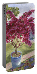 Portable Battery Charger featuring the painting Kona Bougainvillea by Jamie Frier
