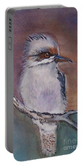 Portable Battery Charger featuring the painting Kookaburra Fancy by Leslie Allen