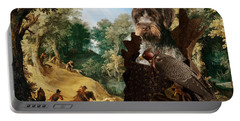 Korthals Pointing Griffon Art Canvas Print - The Hunters And Lady Falconer Portable Battery Charger