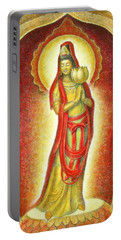 Kuan Yin Lotus Portable Battery Charger by Sue Halstenberg