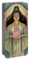 Kuan Yin Pink Lotus Heart Portable Battery Charger by Sue Halstenberg
