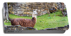 Kuelap Ruins And Llama Portable Battery Charger by Jess Kraft