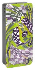 Portable Battery Charger featuring the drawing Kukuruza Sureal Green by Yury Bashkin