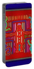 Portable Battery Charger featuring the digital art Kuna Indian Mola Crucifix by Vagabond Folk Art - Virginia Vivier