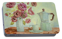 La Caffettiera E I Fiori Amaranto Portable Battery Charger by Guido Borelli