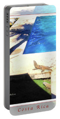 la Casita Playa Hermosa Puntarenas Costa Rica - Iguanas Poolside Greeting Card Poster Portable Battery Charger