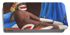 Portable Battery Charger featuring the painting La Grande Sock Monkey by Randol Burns