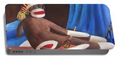 La Grande Sock Monkey Portable Battery Charger by Randy Burns