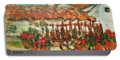 Portable Battery Charger featuring the painting La Mancha by Mindy Newman
