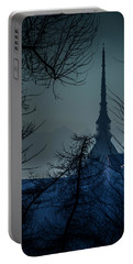 Portable Battery Charger featuring the photograph La Mole Antonelliana-blu by Sonny Marcyan