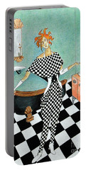 La Toilette -- Woman In Whimsical Art Deco Bathroom Portable Battery Charger