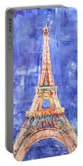 Portable Battery Charger featuring the painting La Tour Eiffel by Elizabeth Lock