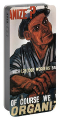 Portable Battery Charger featuring the photograph Labor Poster, 1930s by Granger