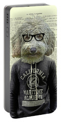 Labradoodle Dog Portrait Art Portable Battery Charger