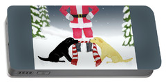 Labs Tug Santa Scarf Portable Battery Charger