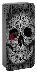 Lace Skull Black Portable Battery Charger by Bekim Art