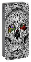 Lace Skull White Portable Battery Charger