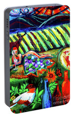 Portable Battery Charger featuring the painting Lady And The Grapes by Genevieve Esson