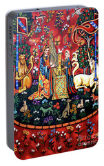 Portable Battery Charger featuring the painting Lady And The Unicorn Sound by Genevieve Esson