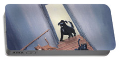 Lady Chases The Cats Down The Stairs Portable Battery Charger