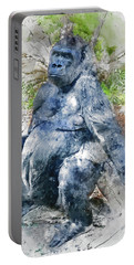 Lady Gorilla Sitting Deep In Thought Portable Battery Charger