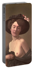 Lady In A Hat Portable Battery Charger