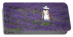Lady In Lavender Field Portable Battery Charger